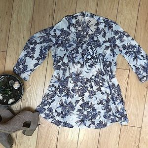 Sheer Floral Pussycat Bow Cinch 3/4 Sleeve Blouse